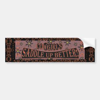Cowgirls Saddle Up Better, Orange/Pink/Black 3 Bumper Sticker