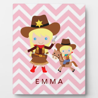 Cowgirls Sheriff Officer Horse on Chevron Plaque