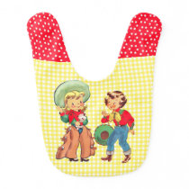 Cowgirls With  Yellow  Check Background Baby Bib