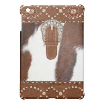 """Cowhide and Leather"" Western  IPad Case"