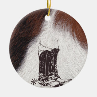 Cowhide Boots Cowboy Cowgirl Western Ceramic Ornament