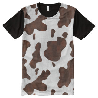Cowhide Faux Hair Western Leather Spotted Pattern All-Over Print T-shirt