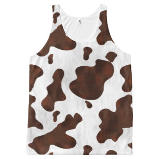 Cowhide Faux Hair Western Leather Spotted Pattern All-Over Print Tank Top