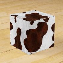 Cowhide Faux Hair Western Leather Spotted Pattern Favor Box