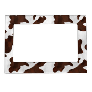 Cowhide Faux Hair Western Leather Spotted Pattern Magnetic Picture Frame