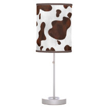 Cowhide Faux Hair Western Leather Spotted Pattern Table Lamp