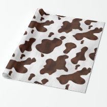 Cowhide Faux Western Leather Spotted Cow Print Wrapping Paper