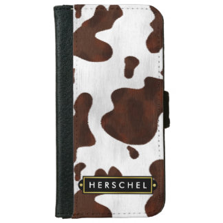 Cowhide Faux Western Leather Spotted Personalized iPhone 6 Wallet Case