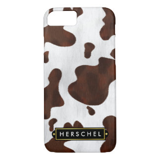 Cowhide Faux Western Leather Spotted Personalized iPhone 8/7 Case