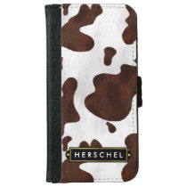 Cowhide Faux Western Leather Spotted Personalized iPhone 6/6s Wallet Case