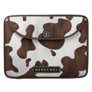 Cowhide Faux Western Leather Spotted Personalized Sleeves For MacBook Pro