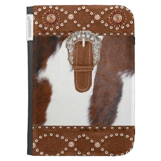 """""""Cowhide & Leather"""" Western Kindle Case"""