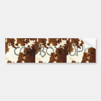 Cowhide Print Cowboy Up! Car Bumper Sticker