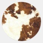 Cowhide Print Cowboy Up! Classic Round Sticker