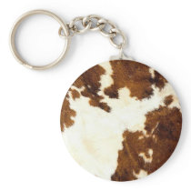 Cowhide Print Cowboy Up! Keychain