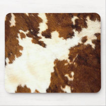 Cowhide Print Cowboy Up! Mouse Pad