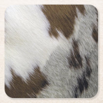 Cowhide Square Paper Coaster
