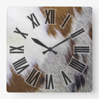 Cowhide Square Wall Clock