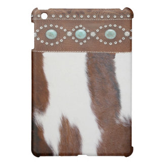 """Cowhide & Turquoise"" Western IPad Case"