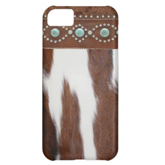 """Cowhide & Turquoise"" Western IPhone 5 Case"