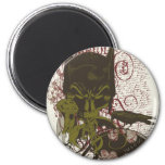Cowl and Skull Manuscript Vintage Collage 2 Inch Round Magnet