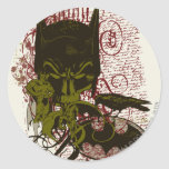 Cowl and Skull Manuscript Vintage Collage Classic Round Sticker