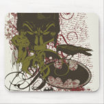 Cowl and Skull Manuscript Vintage Collage Mouse Pad