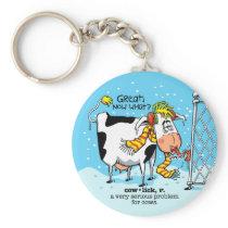 Cowlick Cow Keychain