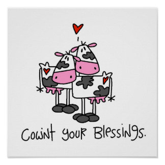 Cownt Your Blessings Funny Cow Poster