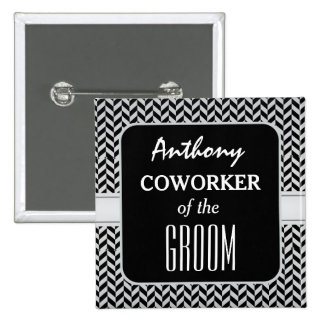 COWORKER OF THE GROOM Trendy Houndstooth A08 Pinback Button