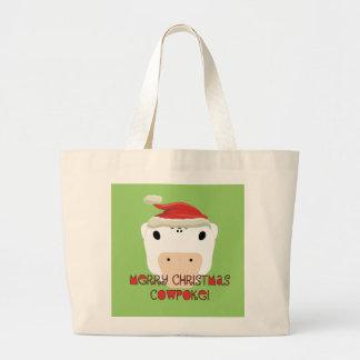 CowPoke de las Felices Navidad Bolsa Tela Grande