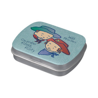 Cowpokes Rose & Rusty rect Jelly Belly Tin
