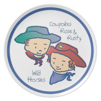 Cowpokes Rose & Rusty Wild Horsies Dinner Plate