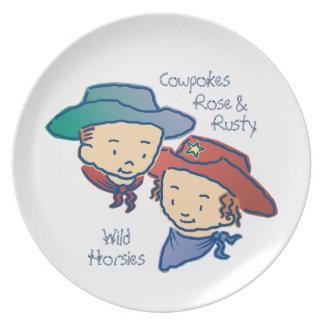 Cowpokes Rose & Rusty Wild Horsies Melamine Plate