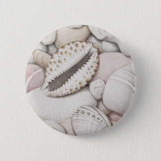 Cowrie & Abalone Shells & Pebbles in Colour Pencil Pinback Button