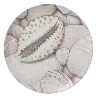 Cowrie & Abalone Shells & Pebbles Melamine Plate