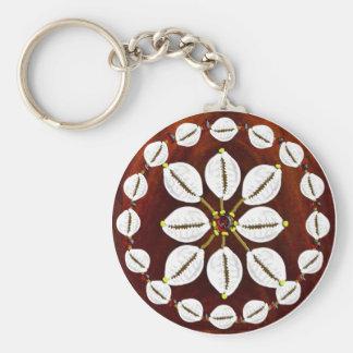 cowrie round basic round button keychain