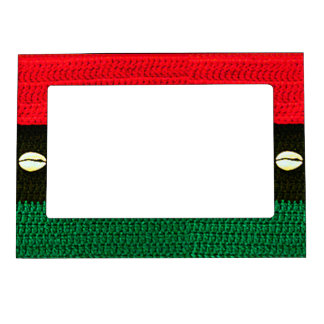 Cowrie Shells Red Black Green Crochet Print on Magnetic Photo Frame