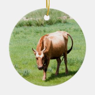 cows and bulls ceramic ornament