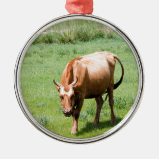 cows and bulls metal ornament