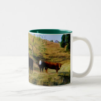 Cows and Girl Two-Tone Coffee Mug