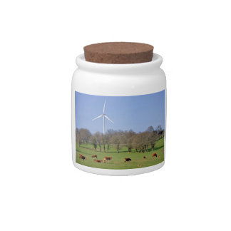 Cows and wind turbine in the meadow candy dish