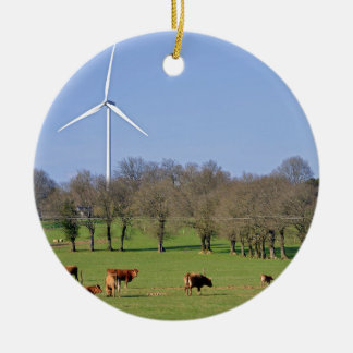 Cows and wind turbine in the meadow ceramic ornament