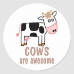 Cows are Awesome Classic Round Sticker