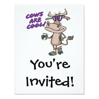 cows are cool funny animal cartoon card