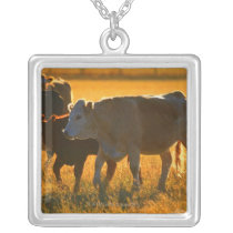 Cows at pasture 2 silver plated necklace
