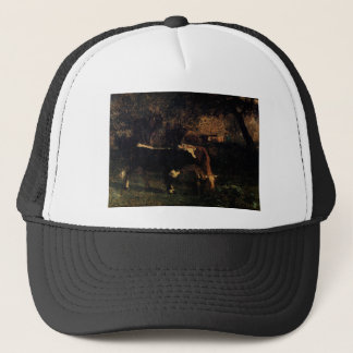 Cows at the Watering by Constant Troyon Trucker Hat