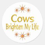 Cows Brighten My Life Classic Round Sticker