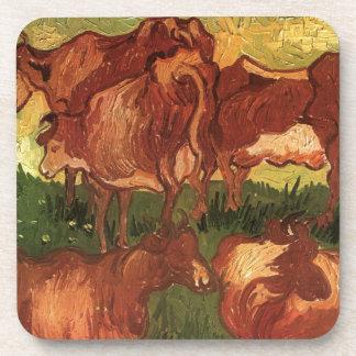 Cows by Vincent van Gogh Beverage Coaster