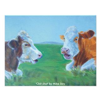 Cows chatting & lying down illustration Chit Chat Custom Invite